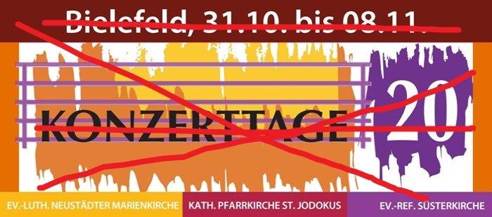 Bielefelder Konzerttage 2020 fallen aus!
